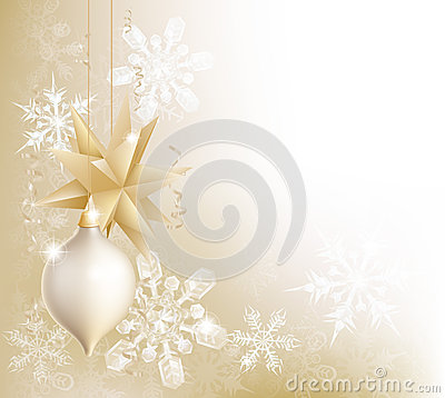 Free Gold Snowflake And Christmas Bauble Background Royalty Free Stock Photo - 27739745