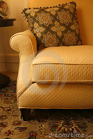 Gold sofa, pillow and carpet