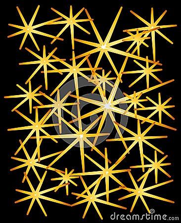 Gold Sparkles Stars on Black