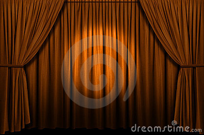 Gold Stage Curtain With Spotlight