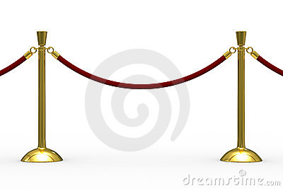 Gold stanchions on white background