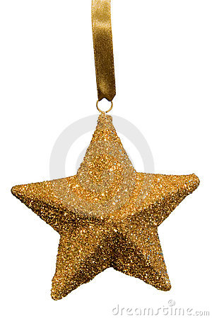 Free Gold Star Christmas Ornament Royalty Free Stock Photos - 1527478