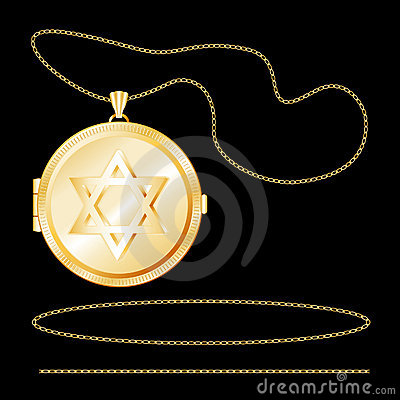 Gold Star of David Locket