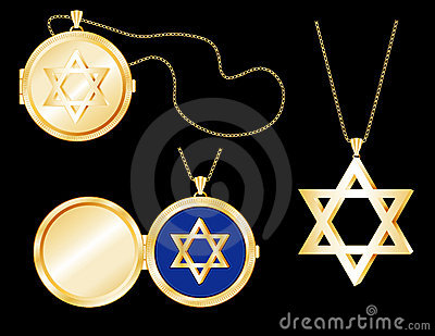 Gold Star of David Locket, Pendant