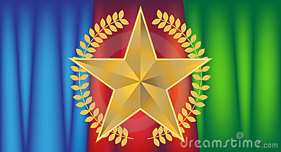 Gold Star with Drapery