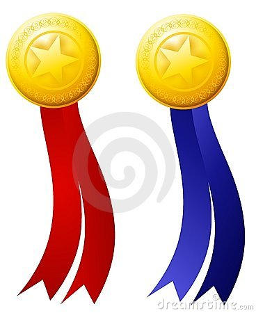 Gold Star Medals Red Blue Ribbons