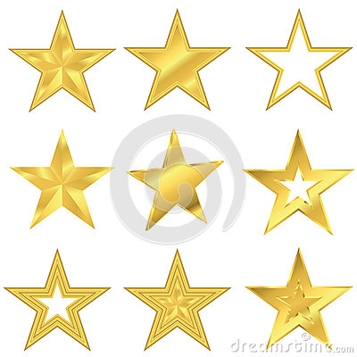 Free Gold Star Set Stock Images - 42346294