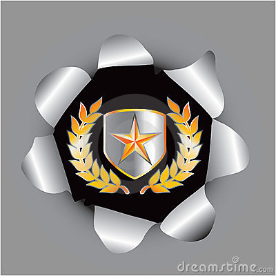 Gold star on shield with leaves in hole