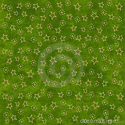Gold stars on green background