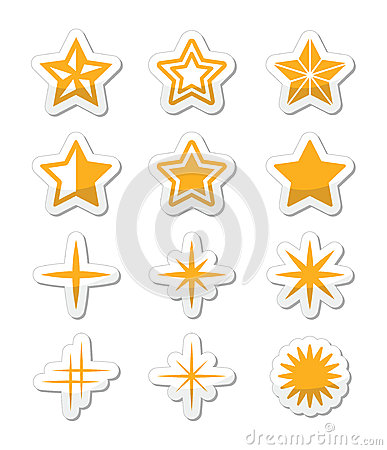 Gold stars  icons set