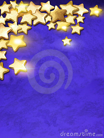 Gold stars over blue background