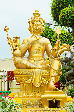 Free Gold Statue Of Brahma Royalty Free Stock Photos - 19087398