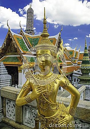Gold statue at the royal palace in bangkok,thailand
