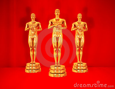 Gold statues on red.