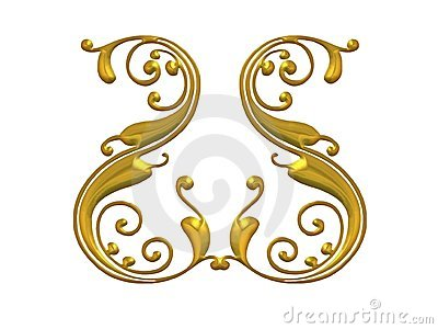 Gold Swirling Flourish Design