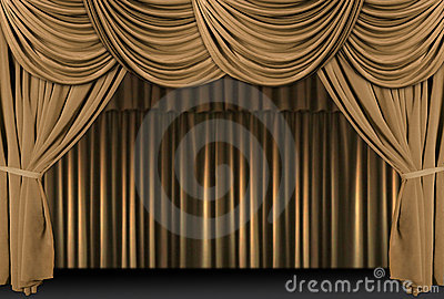 Gold Theater Stage Draped With Curtains