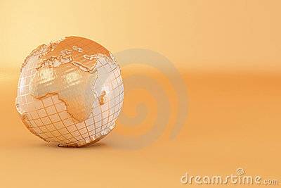 Gold three-dimensional earth on yellow background