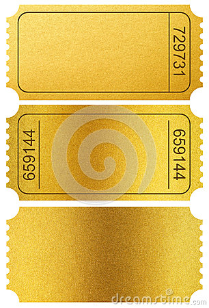 Gold tickets stubs isolated on white with clipping path