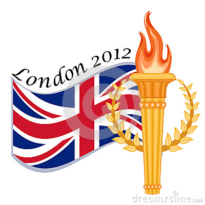 Gold torch and UK flag - London 2012