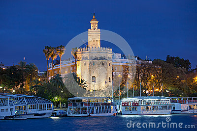 Gold Tower of Seville at Night