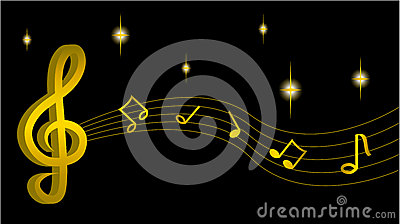 Gold treble clef with notes Vector