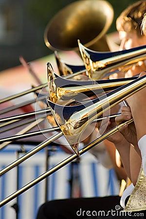 Free Gold Trombones Royalty Free Stock Photo - 7771255
