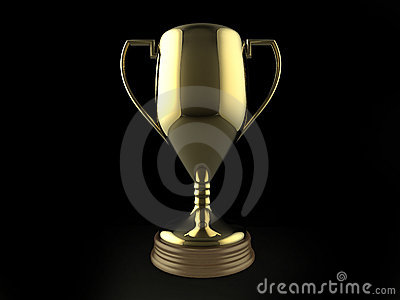 gold trophy on black background royalty free stock photos