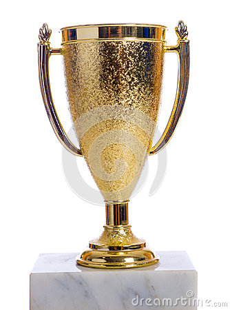 Gold trophy on a marble base with white background