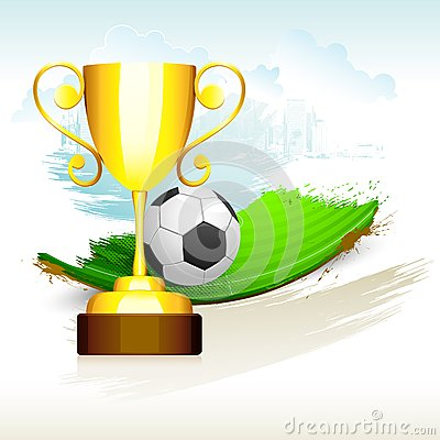 Gold Trophyl on Soccer Pitch