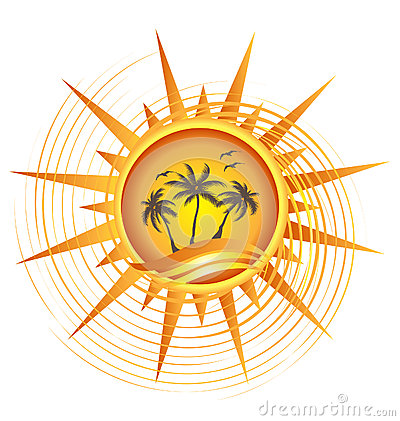 Gold tropical sun logo