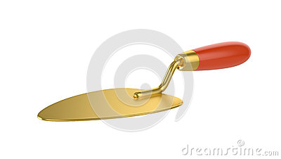 Gold trowel. Work tool.