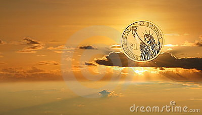 Gold US dollar on sunrise sky. Business success.