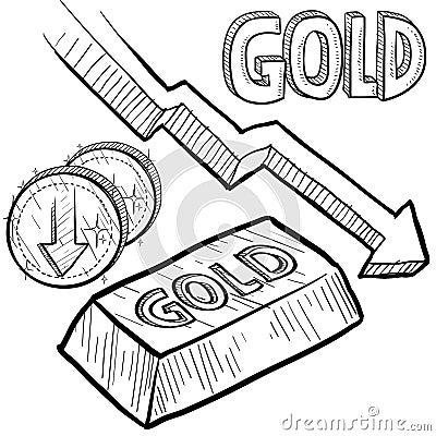 Gold value decreasing sketch
