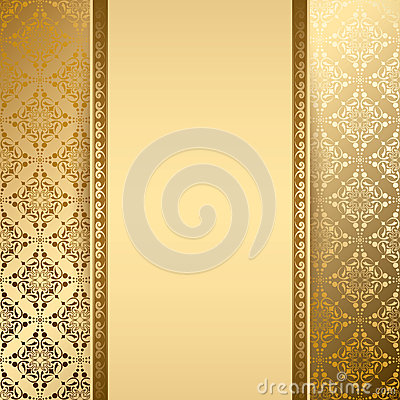 Free Gold Vector Background With Vintage Pattern Royalty Free Stock Photo - 36060265