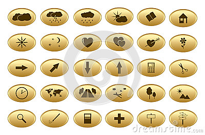 Gold vector web buttons - set