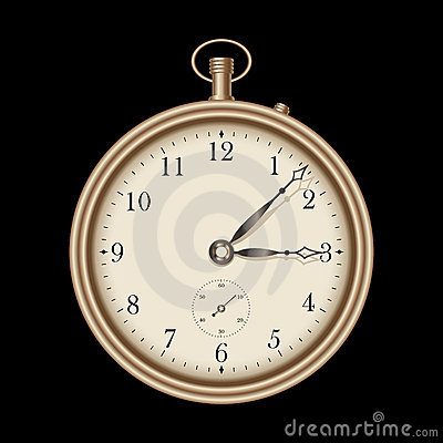 Gold vintage clock - vector