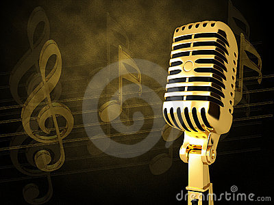 Gold Vintage Microphone Stock Images Image 19214554