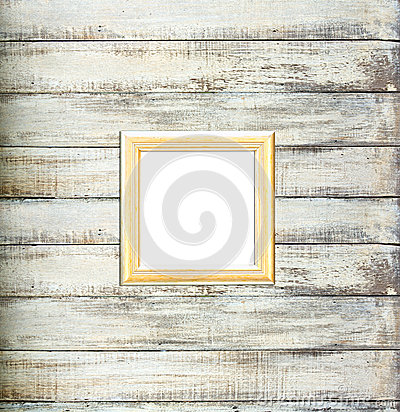 Gold Vintage picture frame on old wood background