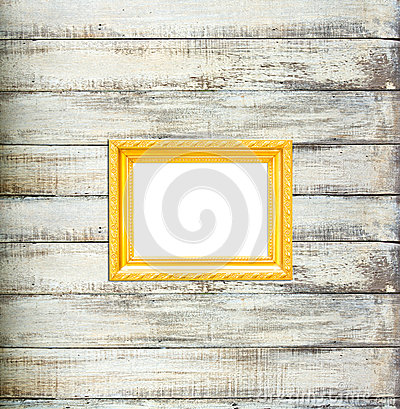 Free Gold Vintage Picture Frame On Old Wood Background Royalty Free Stock Photos - 25894178