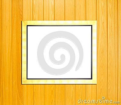 Gold Vintage picture frame on wood background