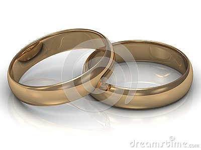 Gold wedding ring is on the other gold ring
