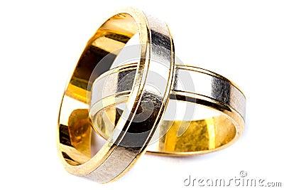 Gold wedding rings close up