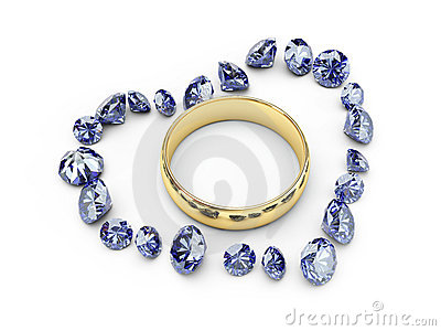 Gold wedding rings in diamond heart