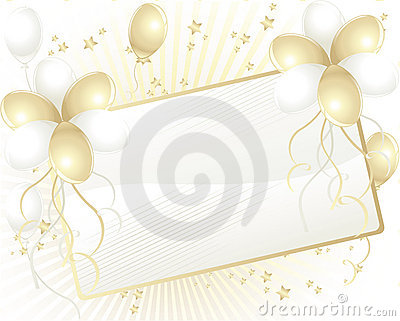 Gold and white balloons with card for text