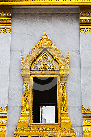 Gold window thai temple