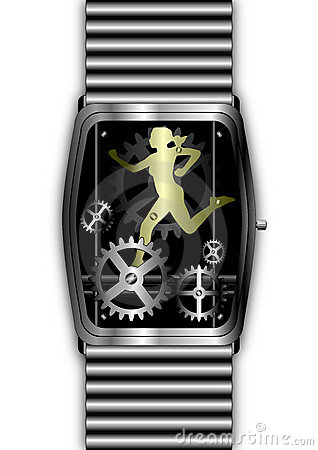 gold woman running out of time in silver watch