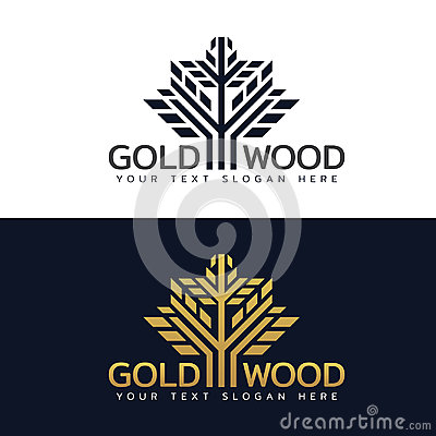 Free Gold Wood Tree Logo With Line And Shape Vector Art Design Royalty Free Stock Images - 95082259