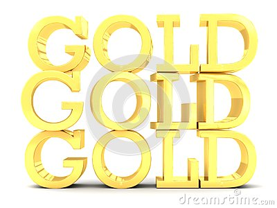 3 Gold word lettering stack