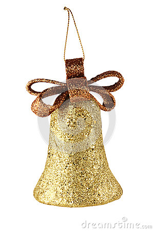 Gold xmas bell isolated