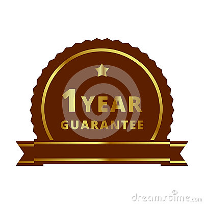 Gold 1 year Guarantee label, badge, symbol, mark, emblem Stock Photo